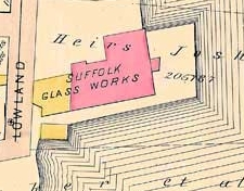 Portion of 1884 map showing the glass works