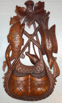 carved mahogany match holder